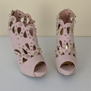 Scene Studded Pink Heeled Boots